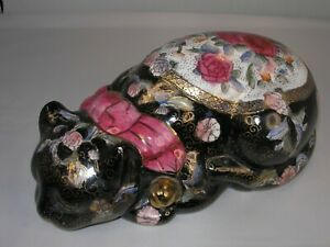 """Chinese """"Cloisonne Style"""" Black Sitting Cat w/Gold and Many Other Paint  Colors"""