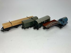 4 x OLD MOSTLY TINPLATE MARKLIN ROLLING STOCK SOLD AS IS (NO BOXES) 3 RAIL ITEMS