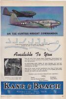 Curtiss C-46 Commando Kane & Roach Inc. WWII VINTAGE AD