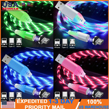 LED flowing Light Up Magnetic Fast Charger Cable For Type-C Micro-USB iPhone US
