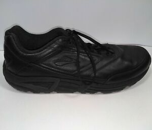 Brooks Addiction Walker Size 15B Black Leather Walking Sneakers No Insoles