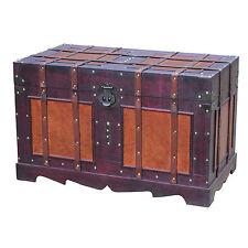 Steamer Trunk Antique Style Chest Wood Metal Home Decor Storage Vintage
