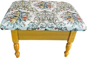 Tiny Warm Oak finish Ottoman with storage tapestry upholstered