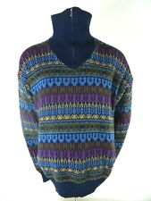 Vintage Campus Shawl Collar Multi Color Woven Geometric Aztec Zip Ski Sweater XL