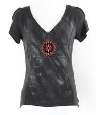 Shirt Passion Sz S Black Charcoal Red Beads Acetate Nylon Elastane Knit Top 009N