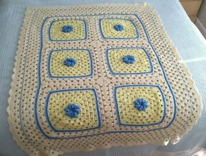 "Vintage Handmade Crocheted 3d Flower Blanket Throw Lap Beige Yellow Blue 40x50"""