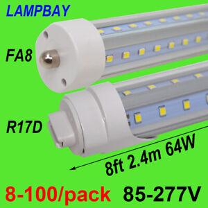 8-100/pack V shape LED Tube Bulb 8FT 2.4m FA8 R17D(HO)Lamp F96 Fluorescent Light