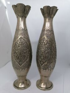 Antique Persian Isfahan silver Pair vases handmade