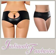 Sexy Black Wet Look Knickers Keyhole XL Lingerie Plus Size 10 12 14 16 18 20 24