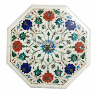 """15"""" White Marble Coffee Table Top Marquetry Lapis Inlay Work Outdoor Decor H2874"""