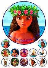 Moana 19cm PERSONALISED Edible Cake topper PLUS 12 cupcake toppers