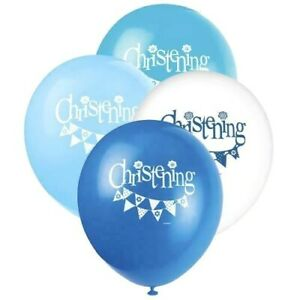 CHRISTENING PARTY BALLOONS - 8 x BLUE & WHITE DECORATIONS - BOY - helium quality