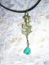 NEW SINGLE STEM ROSE BUD w TURQUOISE NUGGET CUT AMERICAN PEWTER PENDANT JEWELRY