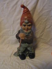 Vintage German Art Pottery Garden Yard Outdoor Gnome / Dwarf with Brush #^