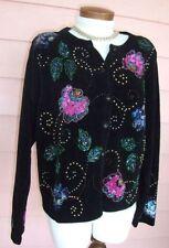 DESIGN OPTIONS Cardigan Sweater Sz L BLACK Lush Beads Sequins GORGEOUS Dressy