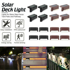 4-12pcs Solar Powered Fence Wall Lights Step Path Decking Outdoor Garden Lamp