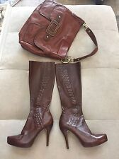 Maxstudio High Heel Platform Leather Knee Boots Zanna Brown Butter Soft Leather