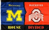 Michigan Wolverines vs Ohio State Buckeyes House Divided Flag 3x5 ft Banner New