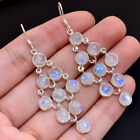 925 Sterling Silver Natural Rainbow Moonstone Gemstone Dangle Earrings Jewelry