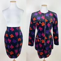 VTG 90s Emanuel EMANUEL UNGARO Black Velvet Skirt Suit XS Floral Print Blazer
