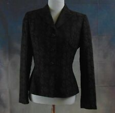 Tahari Women's Black/Brown Fitted Brocade Lined Notched Collar Blazer Size 6