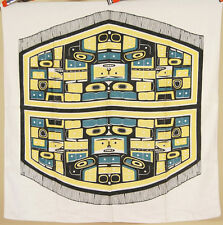 Vintage 40's Northwest Coast Native American Tlingit Chilkat Design Tablecloth!