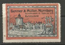 Germany/Nuremberg Germer & Muller Book Printers advertising stamp/label