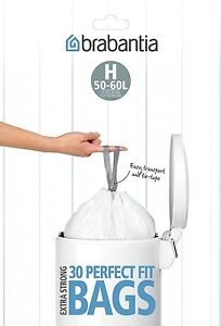 Brabantia 50-60L Litre Bin Liners Waste Bags Type H Size Smart Dispenser Pack