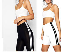 Ladies Summer Side Stripe Cycle Shorts Cotton Gym Shorts UK Size S-3XL sizes