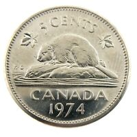 1974 Canada Five 5 Cents Nickel Uncirculated New Coin Fresh From Roll A246