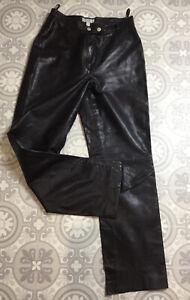 VTG Esprit Dark Brown Soft Real Leather Straight Leg Trousers UK 6 8 W26' Goth