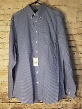 NWT Stafford Mens Dress Shirt 16 1/2 36-37 Fitted Blue Multi Gingham Plaid t72