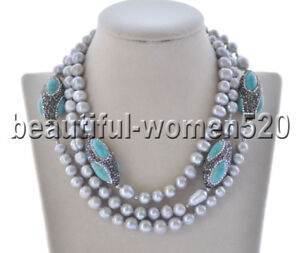 Z9583 Gray Round Freshwater Pearl Turquoise Shuttle CZ Necklace 48inch