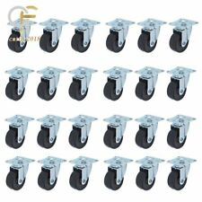 24 Pack 2 Heavy Duty Swivel Caster Wheels Rubber Base With Top Plat Ampbearing