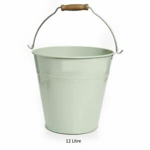 DUCK EGG BLUE HOUSEHOLD METAL BUCKET STRONG WATER 12 L FIRE COAL ASH CLEANING