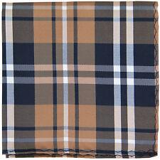 New Men's Polyester Woven pocket square hankie only black brown white plaid
