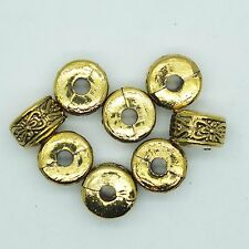 Embossed Flat Disc Drum Bead 14mm Metalized Large Hole Antiqued Gold Finish pk/8