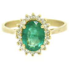 14k Yellow Gold 1.59ctw FINE Oval Emerald Solitaire & Round Diamond Halo Ring