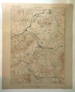 Antique 1916 Geological Survey Topographic Map NH VT Lunenburg Lancaster Dalton