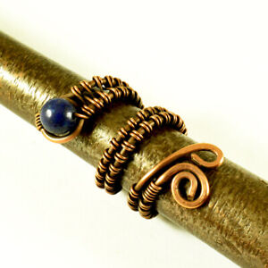 Lapis Lazuli Crystal Copper Wire Wrapped Ring Any Size - Handmade Jewelry