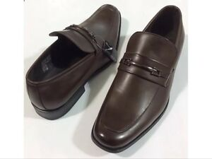 Men's Dress Shoes Eleganza Brown Faux Leather Slip ons Cap Toe NEW WITH BOX
