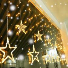 LED Lichterkette Sterne Lichtervorhang Außen Weihnachts  Hochzeit Party Deko