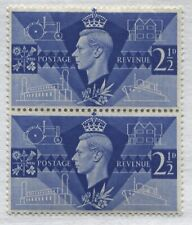 """GB KGVI 1946 Peace 2 1/2d pair, top stamp shows """"Extra Porthole variety mint o.g"""