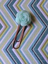 Blue Floral Planner Clip - Rose, Rose Gold