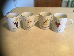 (Set of 4) Pottery Barn Reindeer Coffee Mugs - Dasher, Dancer, Prancer & Vixen