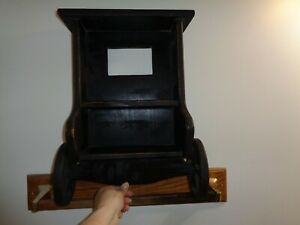 Amish Buggy Wall Shelf Moving Wheels Country Display Wooden 3 Shelves Black