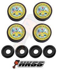 4 Black Custom License Plate Frame Tag Screw Cap Covers - USA ARMY LOGO M JXW