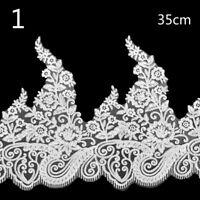 Embroidery Floral Bridal Lace Trims Fabric DIY Wedding Dress 1 Yard 27-35cm Chic