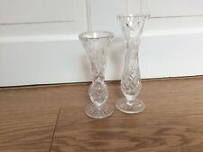 TWO GLASS BUD VASES WITH OPAQUE FLOWERS