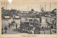 D68/ Foreign Postcard BARBADOS c1910 Trafalgar Square Busy Nelson Monument